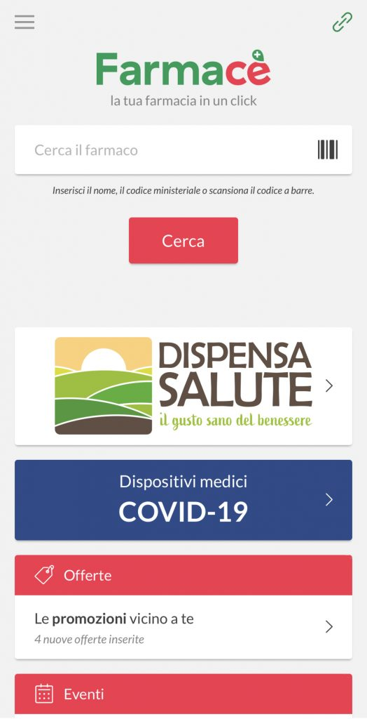 farmacè schermata principale